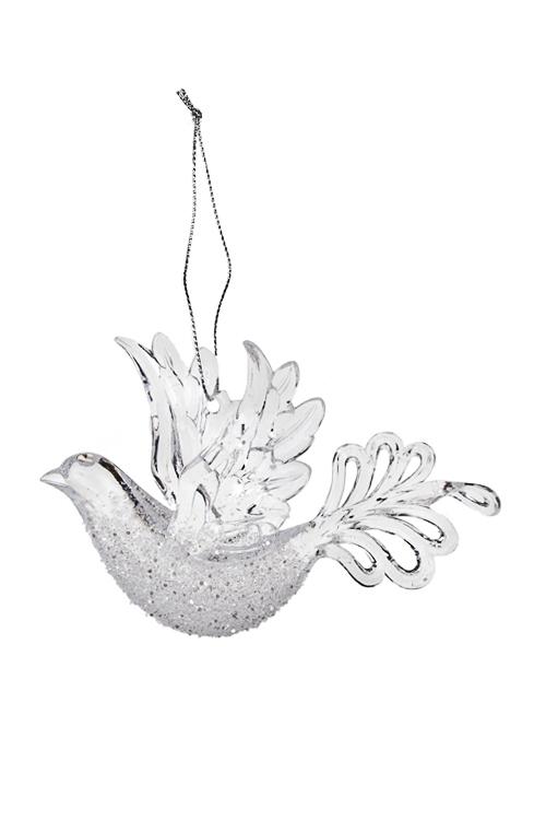 Украшение декоративное Волшебная птичкаПодарки<br>8*11см, акрил, прозр., подвесное (2 вида)<br>