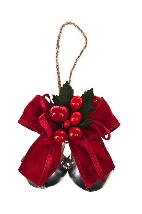 Украшение новогоднее Бубенцы с бантомПодарки<br>Выс=7см, металл, пласт., красно-золот., подвесное<br>