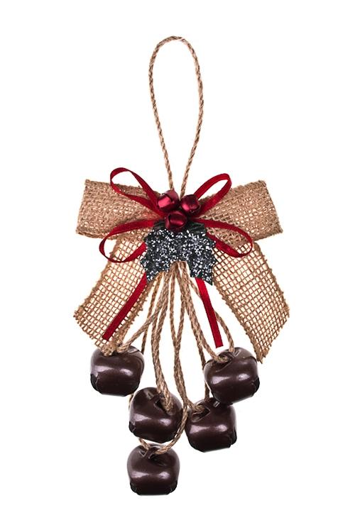 Украшение новогоднее Бубенчики с бантамиЕлочные игрушки<br>Выс=20см, металл, пласт., красно-крем., подвесное<br>