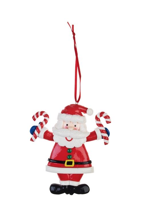 Украшение новогоднее Дед Мороз с конфетамиПодарки<br>Выс=10см, керам., бело-красное, подвесное<br>