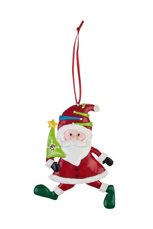 Украшение новогоднее Дед Мороз спешит на праздникЕлочные игрушки<br>Выс=10см, керам., бело-красное, подвесное (3 вида)<br>