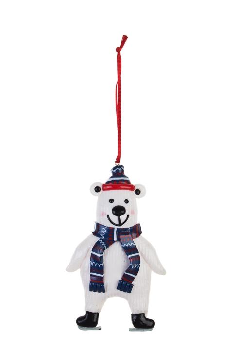 Украшение декоративное Белый миша в шарфике и шапкеПодарки<br>Выс=12см, керам., бело-синее, подвесное<br>