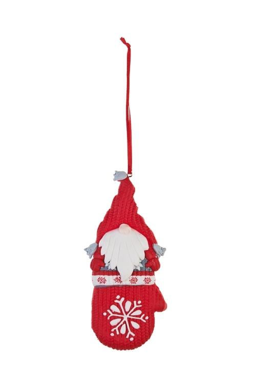 Украшение декоративное Гномик в варежкеЕлочные игрушки<br>Выс=12см, керам., бело-красное, подвесное (3 вида)<br>