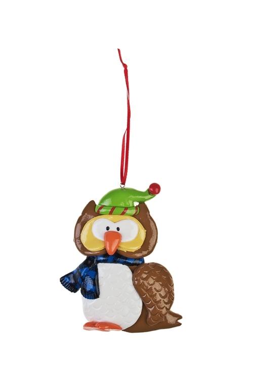 Украшение декоративное Модный совенокЕлочные игрушки<br>Выс=10.5см, керам., бело-коричн., подвесное (2 вида)<br>