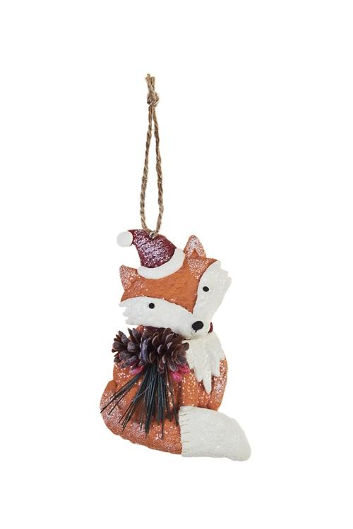 Украшение декоративное ЛисичкаПодарки<br>Выс=11.5см, керам., бело-оранжевое, подвесн. (2 вида)<br>