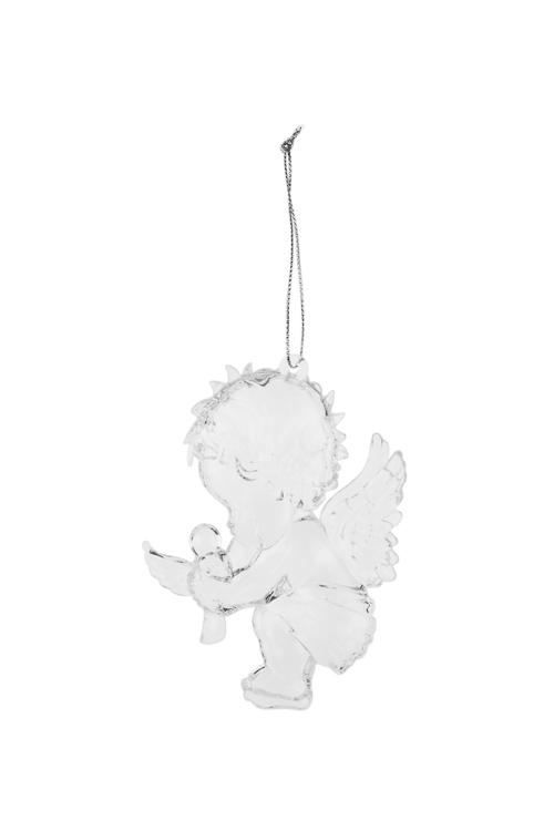 Украшение декоративное Малышка-ангел с птенчикомПодарки<br>Выс=10см, пластм., прозр., подвесное<br>
