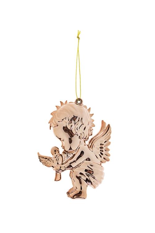 Украшение декоративное Малышка-ангел с птенчикомПодарки<br>Выс=10см, пластм., золот., подвесное<br>