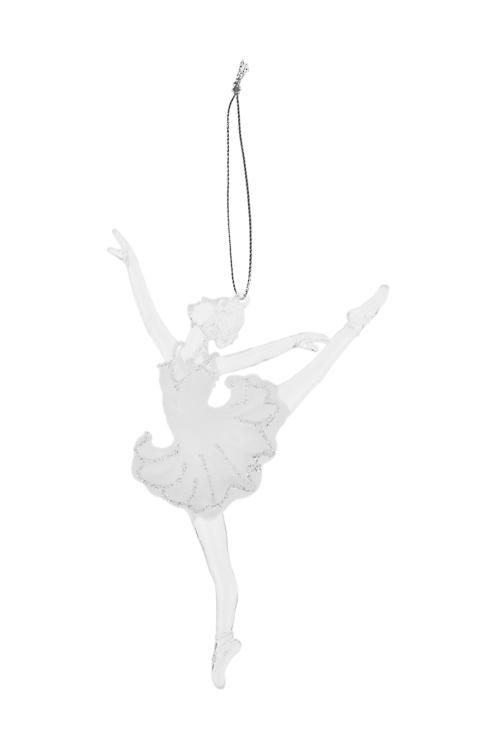 Украшение декоративное БалеринаЕлочные игрушки<br>Выс=13.5см, пластм., прозр.-белое, подвесное (2 вида)<br>