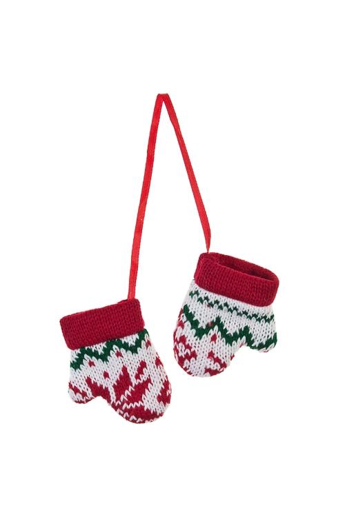 Украшение декоративное Норвежские варежкиЕлочные игрушки<br>7*9см, текстиль, бело-красно-зеленое, подвесное<br>