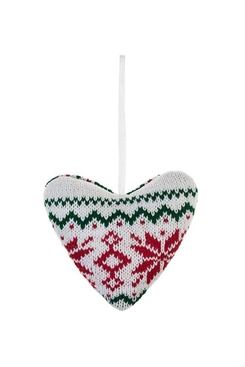 Украшение декоративное Норвежское сердцеЕлочные игрушки<br>Выс=9.5см, текстиль, бело-красно-зеленое, подвесное<br>