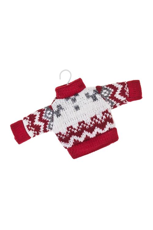Украшение декоративное Норвежский свитерокЕлочные игрушки<br>Выс=9см, текстиль, бело-красно-серое, подвесное<br>