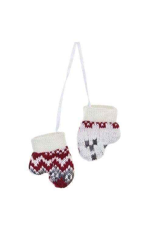 Украшение декоративное Норвежские варежкиЕлочные игрушки<br>7*9см, текстиль, бело-красно-серое, подвесное<br>