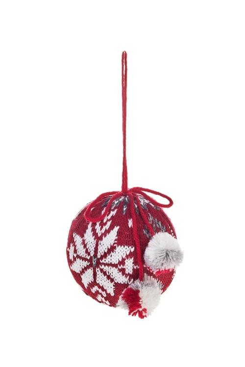 Украшение декоративное Норвежский шарЕлочные игрушки<br>Д=7.5см, текстиль, бело-красно-серое, подвесное<br>