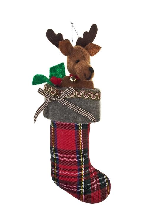 Украшение декоративное Новогодний носокЕлочные игрушки<br>Выс=20см, текстиль, подвесное (2 вида)<br>