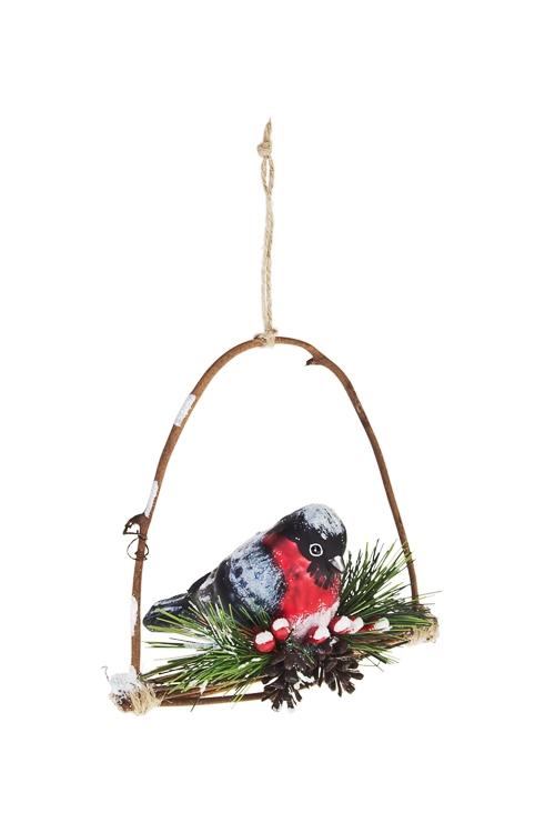 Украшение елочное Снегири на веткеПодарки<br>Выс=10см, стекло<br>