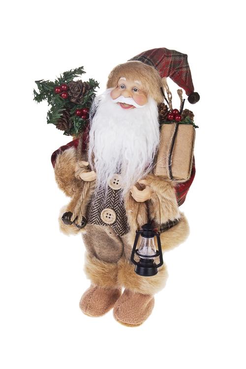 Украшение новогоднее Дед Мороз с подаркамиДеды Морозы и новогодние куклы<br>Выс=30см, с лампой, текстиль, пластм., серо-коричн.<br>