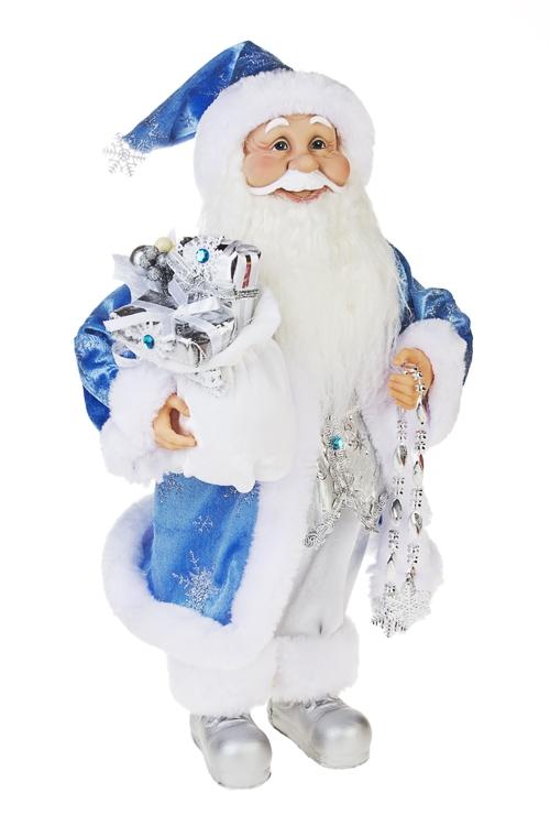 Украшение новогоднее Дед Мороз с подаркамиПодарки<br>Выс=40см, с мешком , текстиль, пластм., бело-голубое<br>