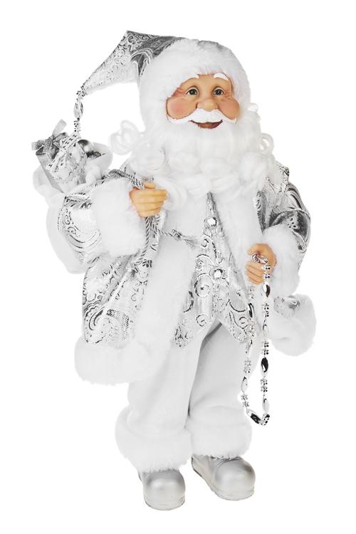 Украшение новогоднее Дед Мороз с игрушкамиПодарки<br>Выс=40см, с мешком , текстиль, пластм., бело-серебр.<br>