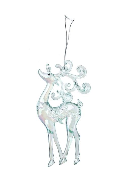 Украшение декоративное Волшебный оленьПодарки<br>Выс=14см, акрил, прозр.-мятное, подвесное (2 вида)<br>