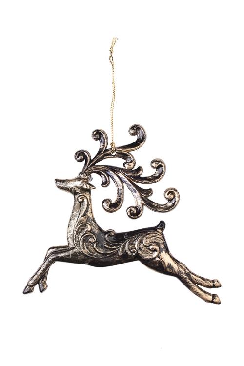 Украшение декоративное Сказочный оленьПодарки<br>Выс=13см, акрил, золот., подвесное (2 вида)<br>