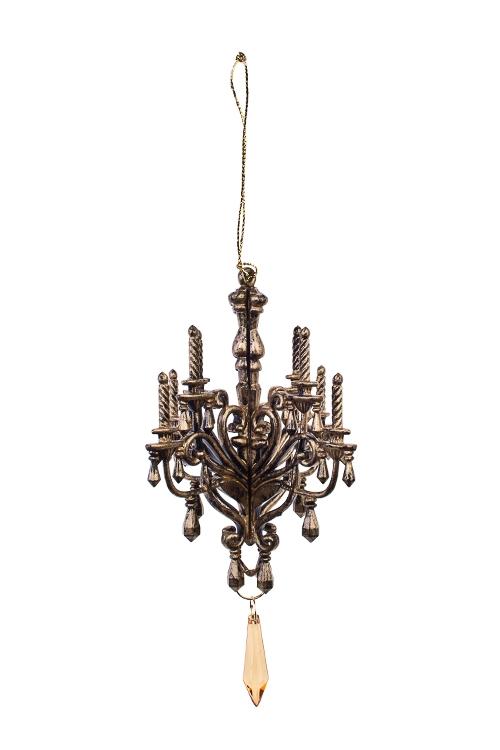 Украшение декоративное Версальская люстраПодарки<br>Выс=15см, акрил, темно-золот., подвесное<br>