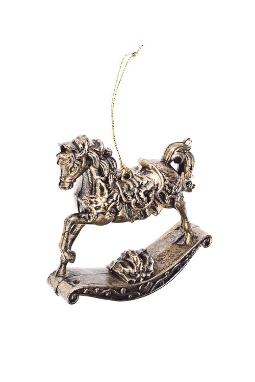 Украшение декоративное ЛошадкаЕлочные игрушки<br>10*11см, акрил, золот., подвесное (2 вида)<br>