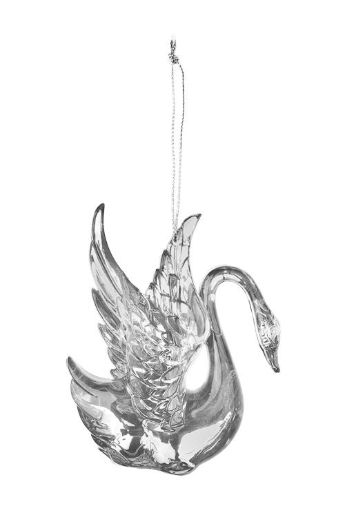 Украшение декоративное Прекрасный лебедьЕлочные игрушки<br>Выс=10см, акрил, прозр.-серебр., подвесное<br>