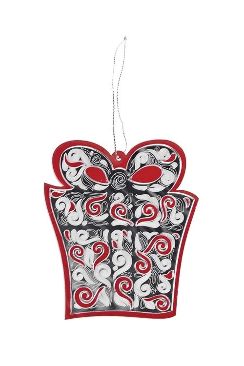 Украшение декоративное Подарок под елкуПодарки<br>Выс=9см, акрил, серебр.-красное, подвесное<br>