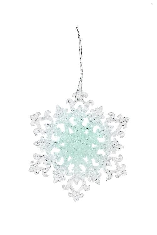 Украшение новогоднее Сияющая снежинкаПодарки<br>Выс=11см, акрил, мятно-прозр., подвесное (3 вида)<br>