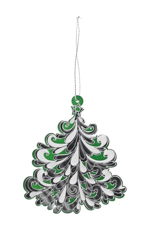 Украшение новогоднее Праздничная елочкаЕлочные игрушки<br>Выс=9.5см, акрил, зелено-серебр., подвесное<br>
