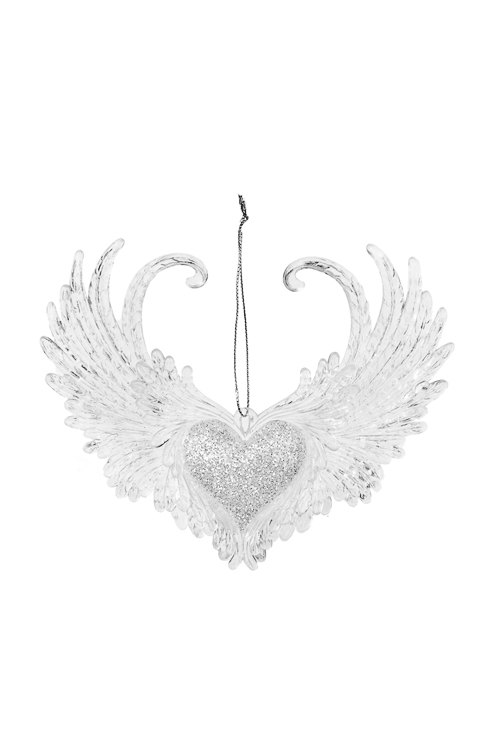 Украшение декоративное Окрыленное сердцеПодарки<br>14*11см, пластм., прозр., подвесное<br>