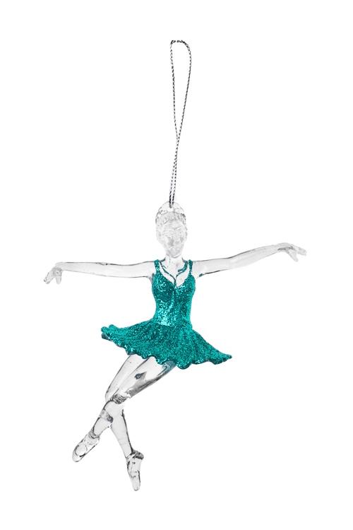 Украшение декоративное БалеринаПодарки<br>Выс=13.5см, пластм., прозр.-бирюз., подвесное (2 вида)<br>