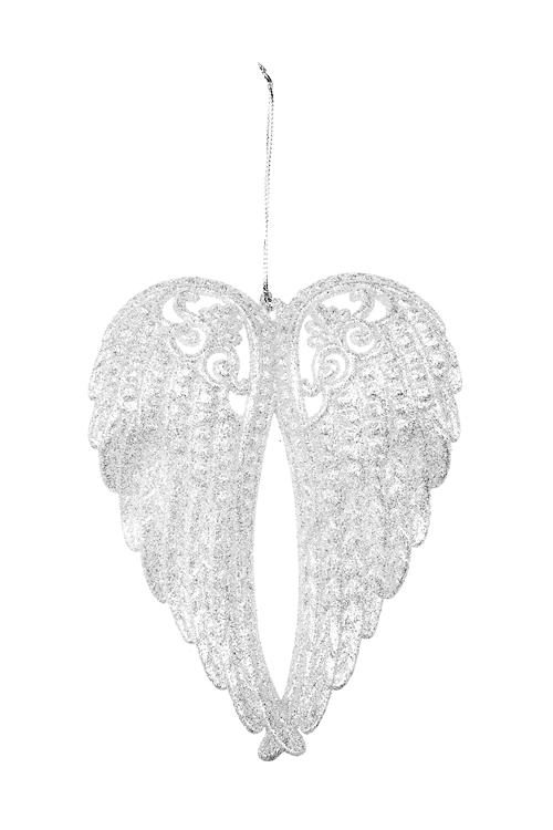 Украшение декоративное Крылья ангелаЕлочные игрушки<br>Выс=15см, пластм., серебр., подвесное<br>