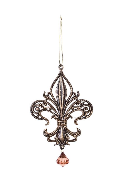 Украшение декоративное Королевская лилияПодарки<br>Выс=15см, пластм., темно-золот., подвесное<br>