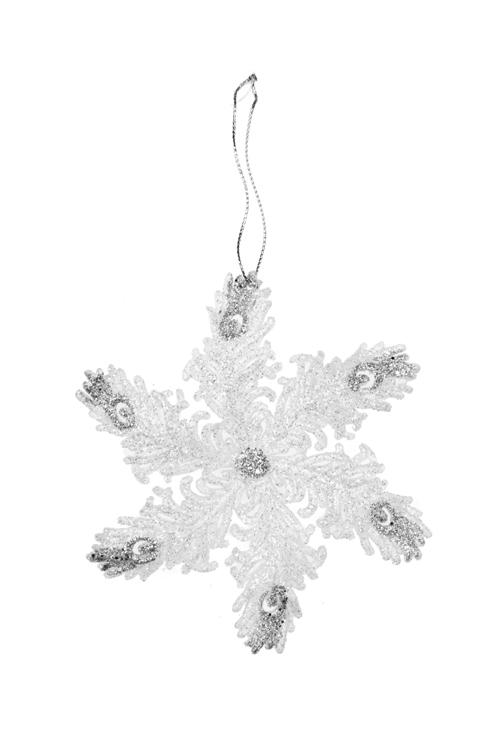Украшение новогоднее Сказочная снежинкаПодарки<br>Выс=12см, пластм., бело-серебр., подвесное<br>