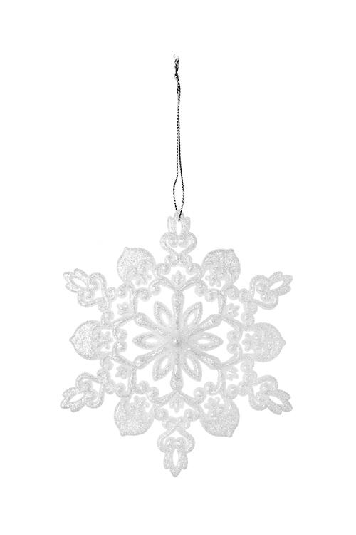 Украшение новогоднее Прекрасная снежинкаЕлочные игрушки<br>Выс=13см, пластм., белое, подвесное (2 вида)<br>