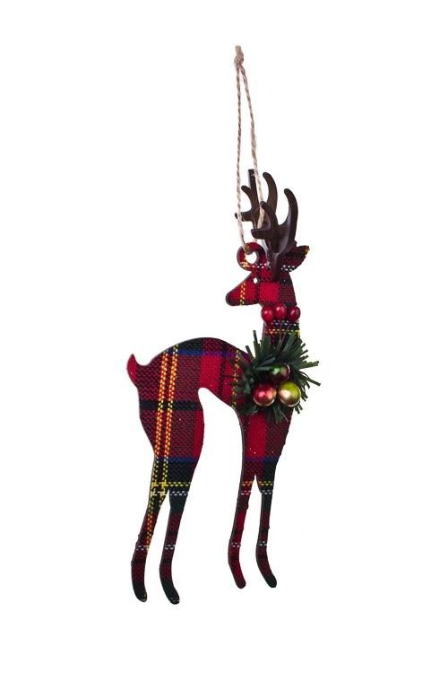 Украшение декоративное Новогодний оленьЕлочные игрушки<br>Выс=17см, пластм., МДФ, красно-зеленое, подвесное<br>