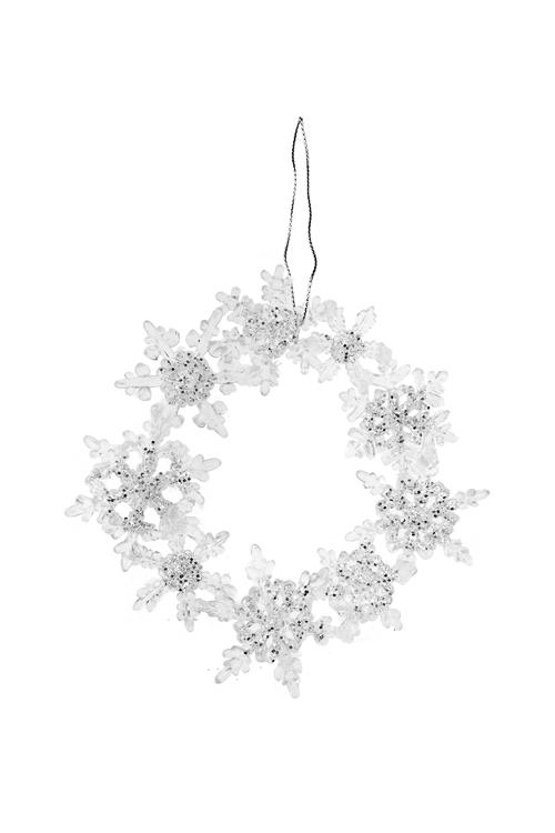 Украшение новогоднее Зимний венокЕлочные игрушки<br>Д=12см, металл, пласт., прозр., подвесное, пластм.<br>