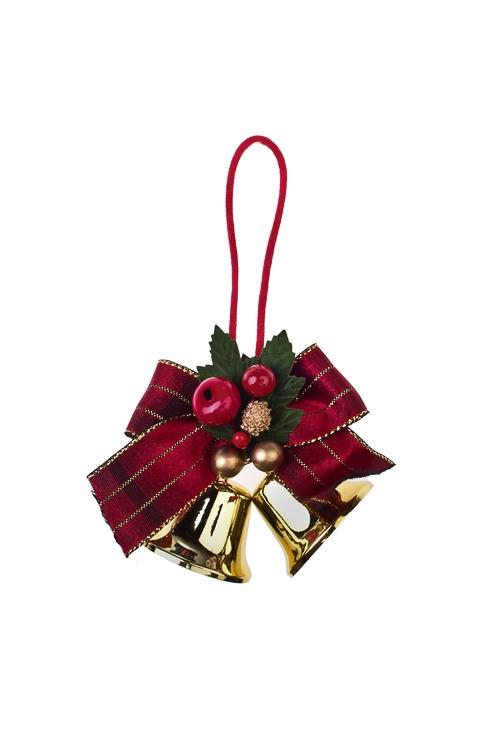 Украшение новогоднее Рождественские бубенцыПодарки<br>Выс=13см, металл, пластм., красно-золот., подвесное<br>