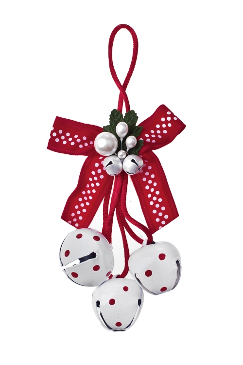 Украшение новогоднее Бубенчики с бантомПодарки<br>Выс=22см, металл, пласт., красно-белое, подвесное (2 цвета)<br>