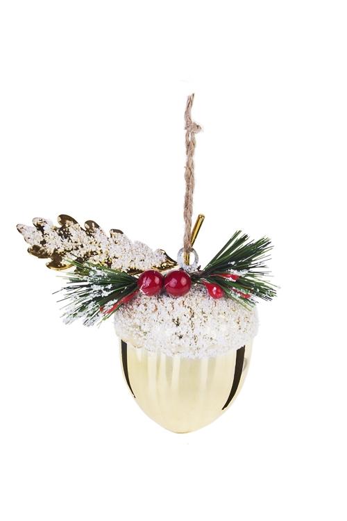 Украшение новогоднее Колокольчик - ЖелудьЕлочные игрушки<br>Выс=9см, металл, пласт., золот., подвесное<br>