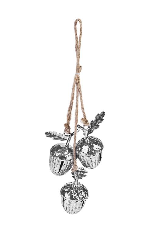 Украшение новогоднее Колокольчики - ЖелудиПодарки на Новый год 2018<br>Выс=12см, металл, серебр., подвесное<br>