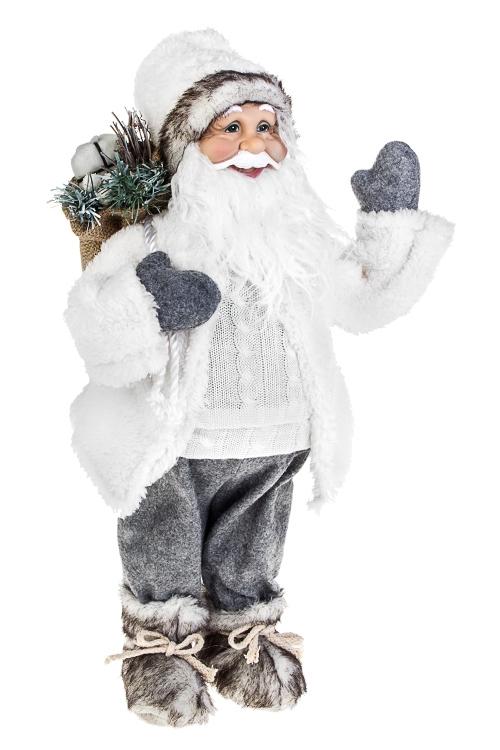 Украшение новогоднее Дед Мороз с мешком подарковКуклы<br>Выс=45см, текстиль, пластм., бело-серое<br>