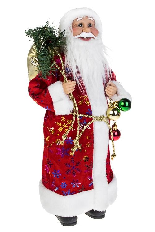 Украшение новогоднее Дед Мороз с мешком подарковКуклы<br>Выс=45см, текстиль, пластм., красно-белое<br>