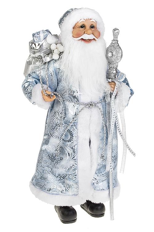 Украшение новогоднее Дед Мороз с подаркамиИгрушки и куклы<br>Выс=45см, с посохом, текстиль, пластм., бело-голубое<br>