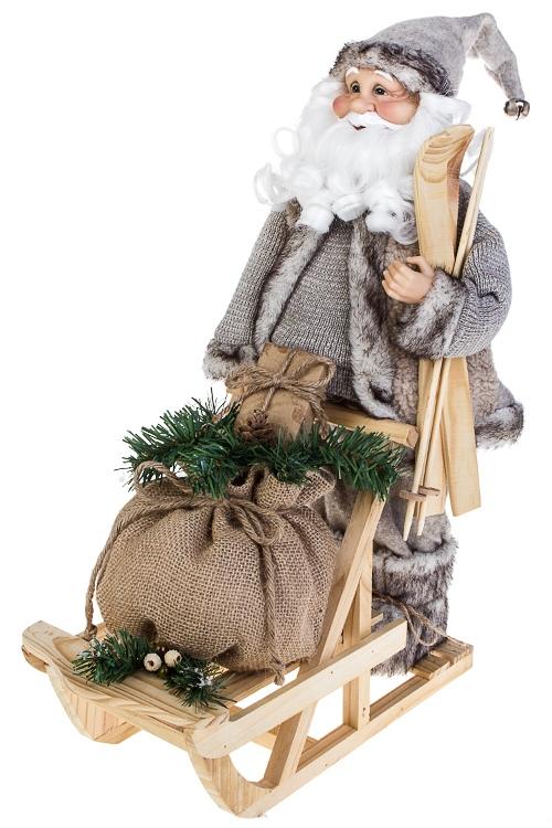 Украшение новогоднее Дед Мороз на санях с подаркамиКуклы<br>17*36*49см, текстиль, пластм., дерево, серо-коричн.<br>