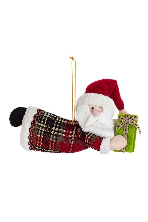Украшение новогоднее Дед Мороз с подаркомИгрушки и куклы<br>18.5*10см, текстиль, крем.-красно-зеленое, подвесное<br>