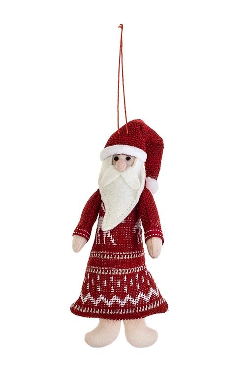 Украшение новогоднее Норвежский Дед МорозИгрушки и куклы<br>7.5*17.5см, текстиль, крем.-красное, подвесное<br>