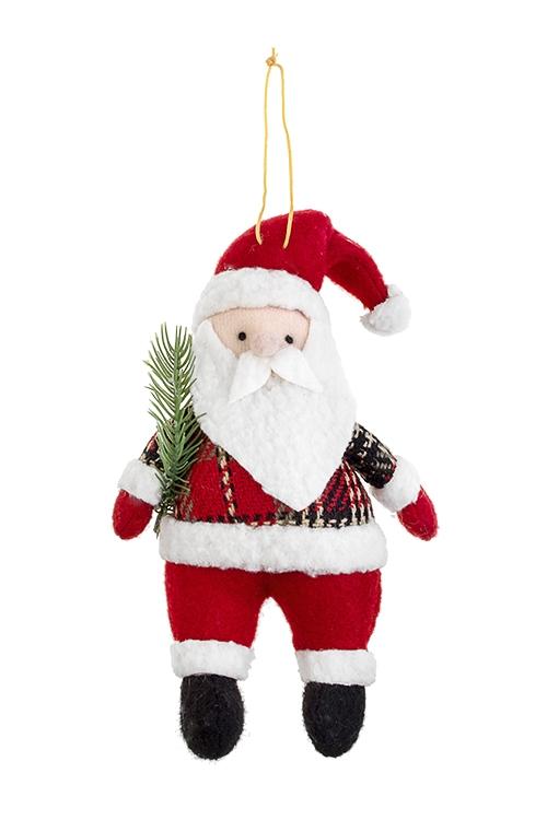 Украшение новогоднее Дед Мороз с елочкойТекстильные игрушки<br>11*17см, текстиль, бело-красно-зеленое, подвесное<br>