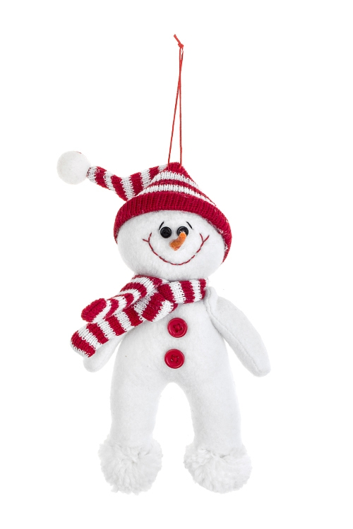 Украшение новогоднее Снеговик в шапочкеИгрушки и куклы<br>9*19см, текстиль, бело-красное, подвесное<br>